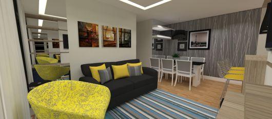 sofa preto decoração amarela