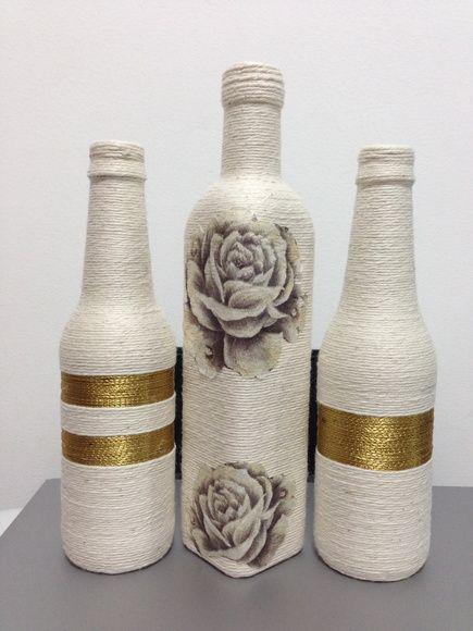 garrafa com barbante decorada