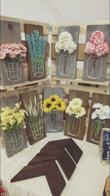 quadro de barbante com flores
