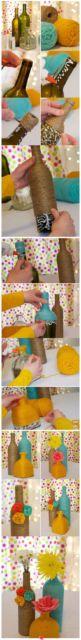 como fazer garrafa barbante