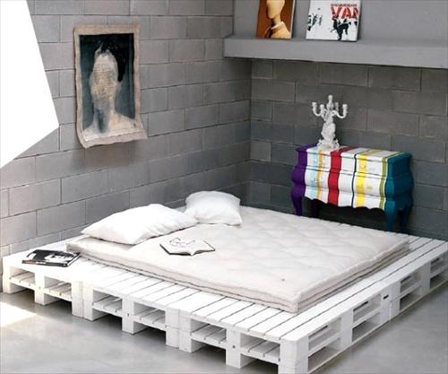 cama baixa pallet branco