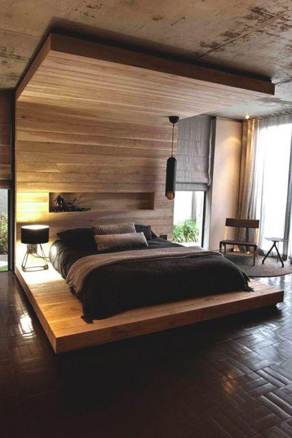 camas de madeira moderna com cabeceira