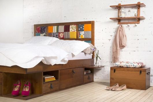 camas de madeira nichos