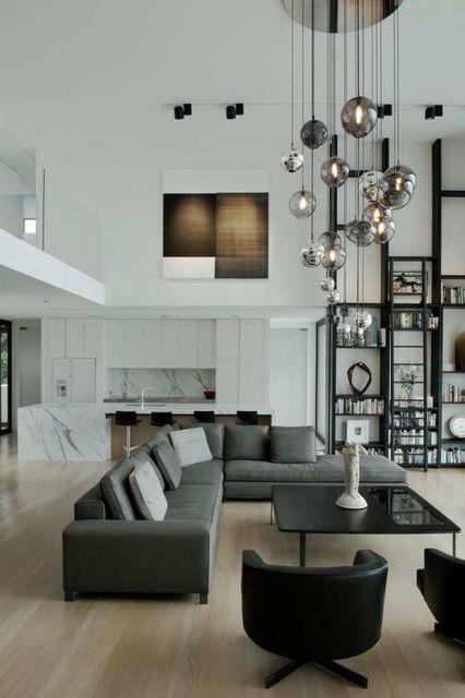sofá cinza sala