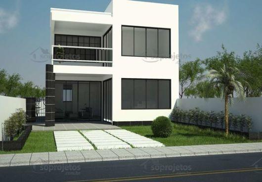 fachada moderna com sacada