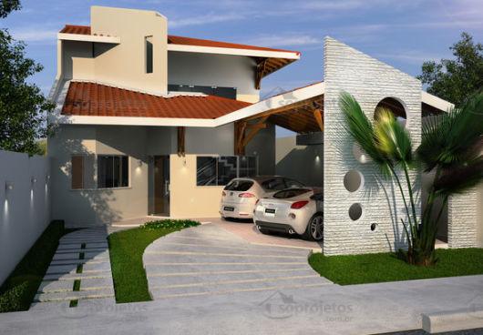 fachada com telhado aparente