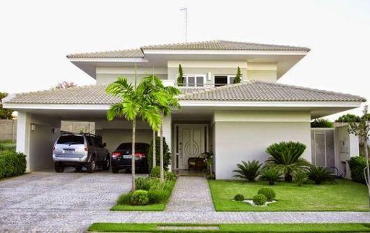 fachada casa moderna garagem 2 carros