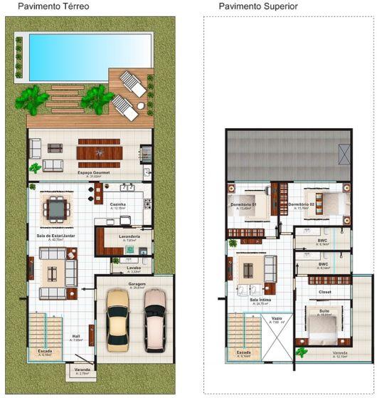 Casas duplex plantas e projetos gr tis for Casa moderna 90m2
