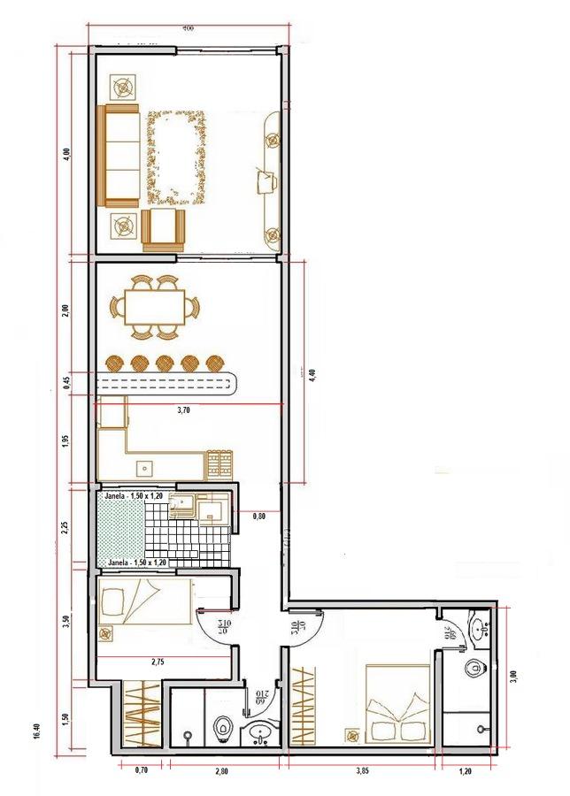 simples com dois quartos