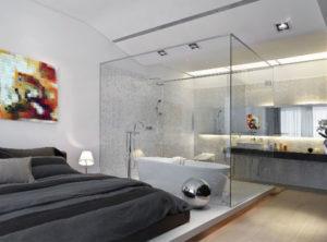 fotos de quarto com banheira integrada