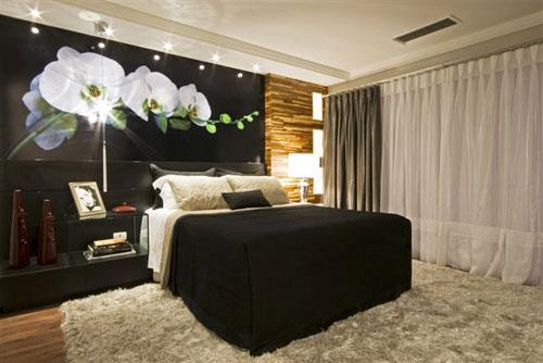 como decorar um quarto de casal grande p&b
