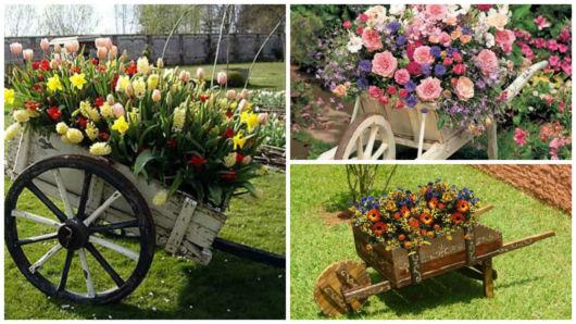 Resultado de imagem para carrinho com flores no jardim