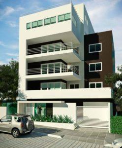 fachadas de prédios com três andares
