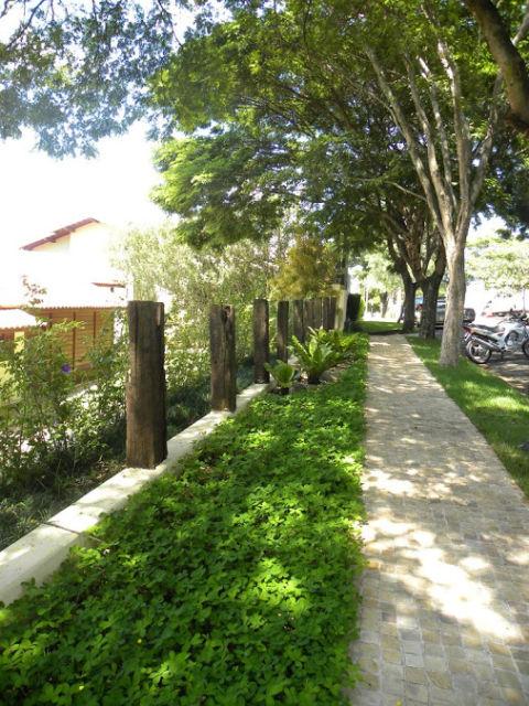 calçada com grama