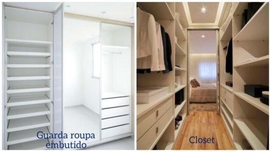 diferença de armário embutido e closet