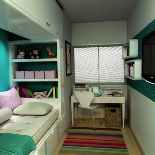 projeto cama embutida quarto solteiro
