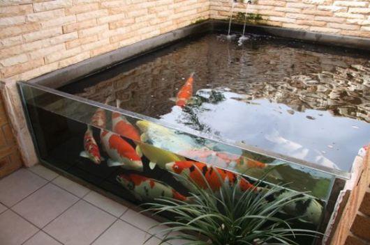 lago com lateral de vidro