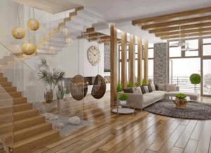 lustre para escada e sala de estar