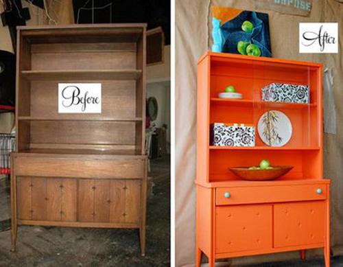 móveis laqueados laranja
