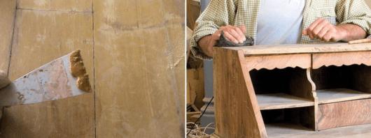 móveis laqueados pasta de madeira e lixa