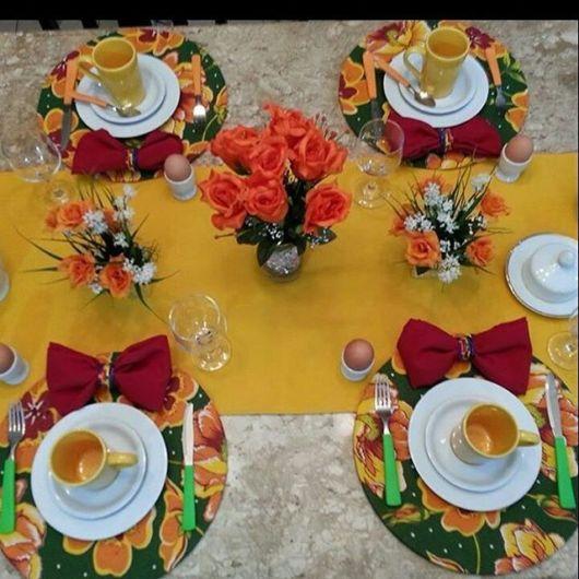 mesa posta café sousplat floral