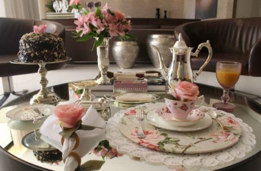 mesa posta café sousplat florido