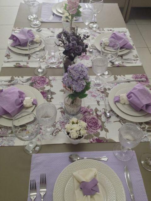 mesa posta caminho de mesa florido