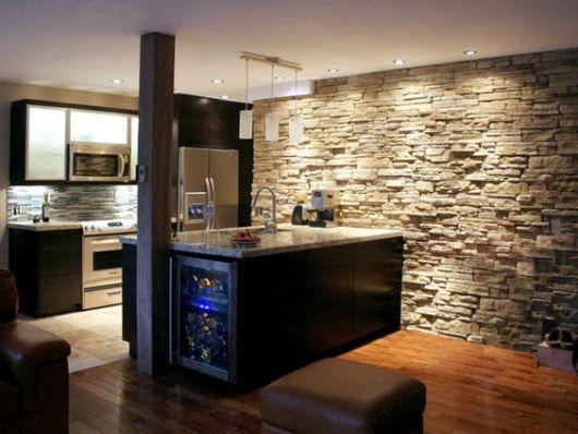 parede rústica cozinha