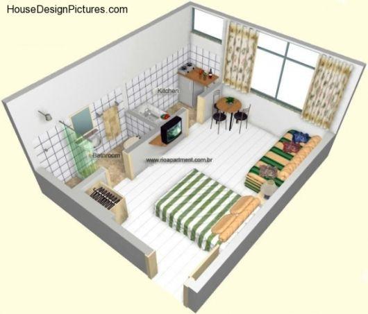 Plantas de kitnet 25 modelos e projetos gr tis dicas for Casa moderna 4x4
