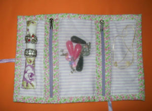 porta joias de tecido estilo carteira