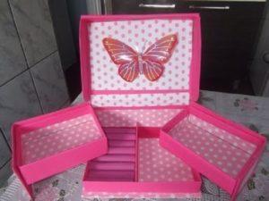 porta joias de tecido com caixa de papelão
