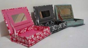 porta joias de tecido com caixa mdf e espelho