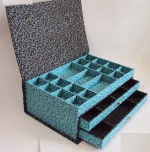 porta joias de tecido caixa colorida