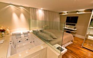 criar ambientes com quarto com banheira integrada