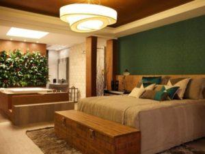 quarto com banheira integrada com jardim