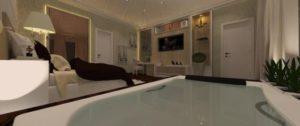 quarto com banheira integrada luxo
