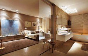 dicas de quarto com banheira integrada