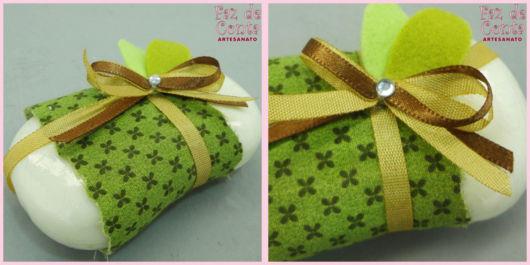 sabonetes decorados com tecido verde
