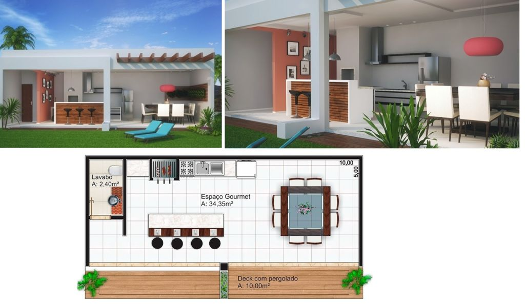 Área de lazer pequena 45 projetos incríveis e plantas grátis! -> Banheiro Simples Para Area De Lazer