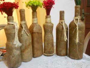 garrafas para decoração com artesanato com filtro de café