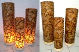 luminária de vidro com artesanato com filtro de café