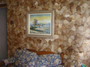 parede feita com artesanato com filtro de café
