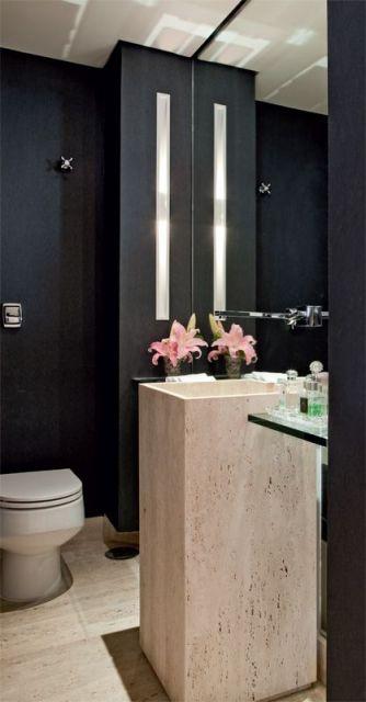 lavabo preto e bege