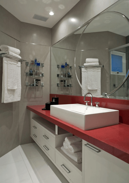 Banheiro bege combinações de cores e 52 fotos de ambientes lindos! -> Banheiros Planejados Vermelho
