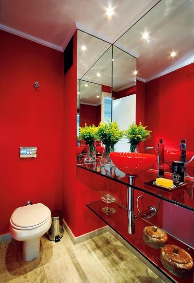 Banheiro bege combinações de cores e 52 fotos de ambientes lindos! -> Decoracao De Banheiro Com Cuba Vermelha