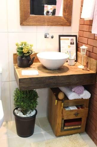 Banheiro r stico modelos dicas para decorar e de 40 fotos for Fotos lavabos pequenos
