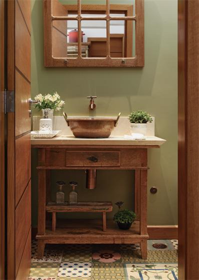 Banheiro Rústico Modelos, dicas para decorar e + de 40 fotos! -> Banheiro Decorado Ladrilho Hidraulico