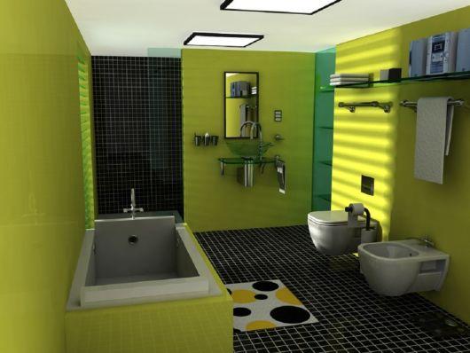 banheiro-verde-preto-moderno