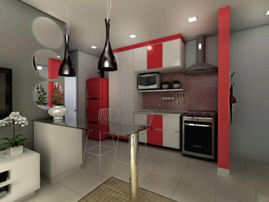 cozinha-americana-pequena-coifa-colorida