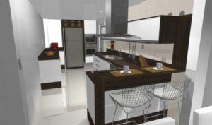 cozinha clean projeto com penísula